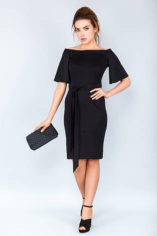 29db325f830 Элегантное вечернее черное платье по фигуре с открытыми плечами и поясом