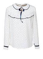 """Блузка для девочки """"Лера 2"""" длинный рукав, горошек (4-8 лет)"""