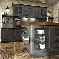 Кухня RODA ТИВОЛИ: абсолютно инновационная! Крашенный МДФ 22 мм, глубокая фрезеровка, инкрустация нержавейкой