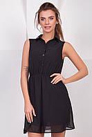 Черное летнее шифоновое платье-рубашка без рукавов