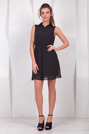 8601218511f Черное летнее шифоновое платье-рубашка без рукавов - купить по ...