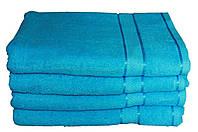 Однотонное голубое полотенце махровое с бордюром 100% хлопок эконом