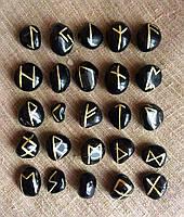 Руны из камня. Черный оникс. 25 символов. Premium Quality.