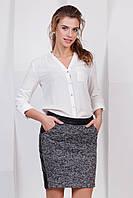 Модная офисная кожаная юбка выше колен со вставкой букле