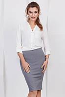 Классическая серая женская юбка-карандаш до колен