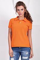 Яркая женская футболка поло оранжевая