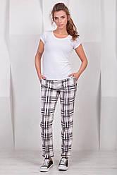 Модные женские классические брюки в серую клетку