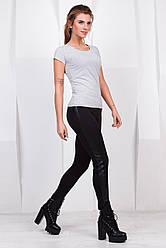 Модные женские черные леггинсы с кожаной вставкой сбоку