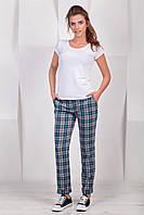 Модные женские классические брюки в бирюзовую клетку