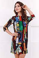 Стильное женское прямое платье до колен с ярким принтом Витражи