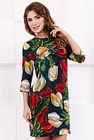 Стильное женское прямое платье до колен с ярким принтом Тюльпаны