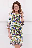 Стильное женское прямое платье до колен с ярким принтом Майолика