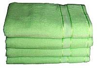 Однотонное зеленое полотенце махровое с бордюром 100% хлопок эконом  Плотность 400 г/м2