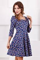 Модное женское джинсовое платье с длинным рукавом принт Пейсли