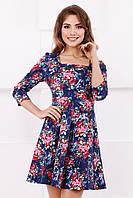 Модное женское джинсовое платье с длинным рукавом принт цветочек