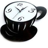 """Часы настенные стеклянные """" Кухня"""" 29*25*4,6 см Чашка кофе SNT 01-224"""