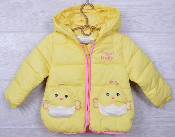 """Куртка детская демисезонная """"Angel Hugs"""" #26/2 для девочек. 92-110 см (2-5 лет). Нежно-желтая. Оптом."""
