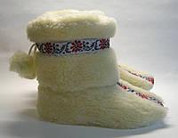 Тапочки-сапожки для дома с помпонами и украинским орнаментом 35