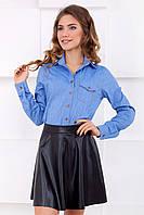Стильная женская рубашка джинсового цвета с длинным рукавом