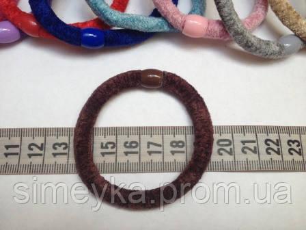 Резинка для волос велюровая коричневая, диаметр 6 см, 1 шт.