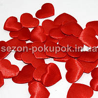 (100шт) Тканевый Декор Сердце маленькое 2,2х1,8см  Цена за 100 шт. Цвет - красный