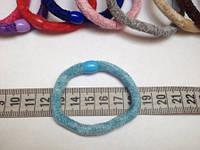 Резинка для волос велюровая голубая, диаметр 6 см, 1 шт.