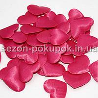 (100шт) Тканевый Декор Сердце маленькое 2,2х1,8см  Цена за 100 шт. Цвет - малиновый