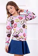 Яркий розовый женский свитшот с принтом Пончики