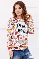 Модный женский свитшот с пончиками Donut Worry