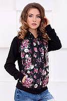 Женское черное худи с карманами с цветочным принтом A-college