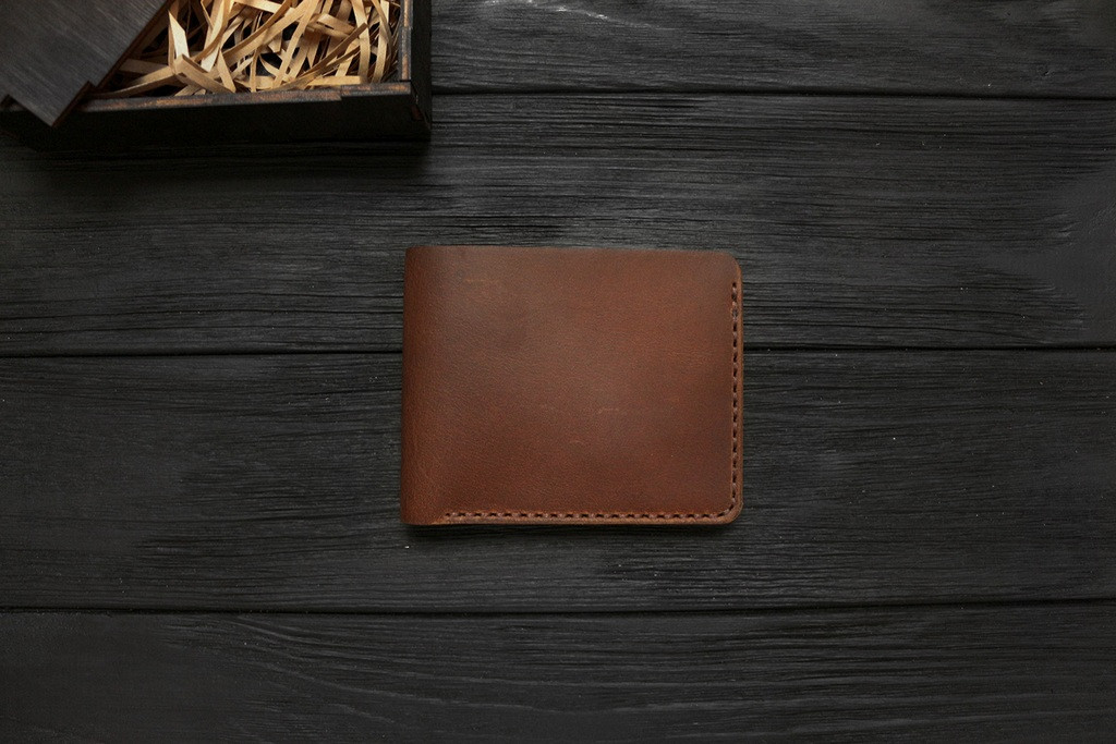Мужской кожаный бумажник ручной работы VOILE vl-mw1-lbrn-brn