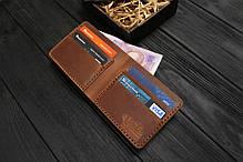 Мужской кожаный бумажник ручной работы VOILE vl-mw1-lbrn-brn, фото 3