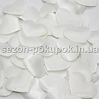 (100шт) Тканевый Декор Сердце маленькое 2,2х1,8см  Цена за 100 шт. Цвет - белый