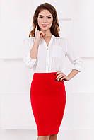 Классическая красная женская юбка-карандаш до колен