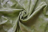 Ткань Замша на трикотаже Светло Зеленый с напылением манка