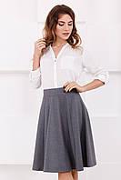 Женская стильная серая юбка до колен с клиньями