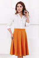 Женская стильная горчичная юбка до колен с клиньями