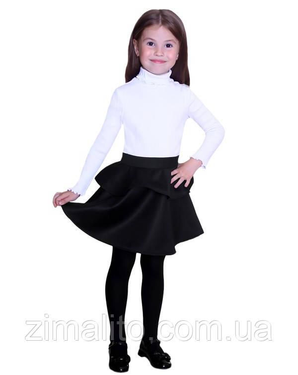 Юбка с баской черная для девочки