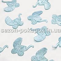 (≈ 50шт) Тканевый Декор Коляска 2,5х2,4см  Цена за 2,6 гр. ≈  50 шт. Цвет - голубой