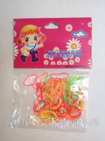 Резинка для волос силиконовая тонкая (мини) цветная прозрачная (неоновые цвета)