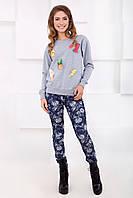 Модные женские узкие серые брюки в цветочек