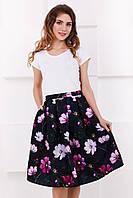 Пышная летняя женская миди юбка Цветы на темном