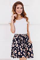 Летняя женская юбка до колен с карманами принт ромашки