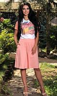 Льняная персиковая юбка