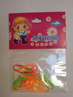 Резинка для волос силиконовая тонкая цветная прозрачная (в неоновых цветах)