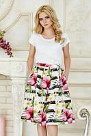 Летняя женская юбка миди в полоску с цветами