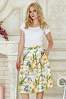 Пышная летняя женская миди юбка Желтые полоски