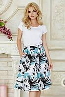 Пышная летняя женская миди юбка Цветочная полоска