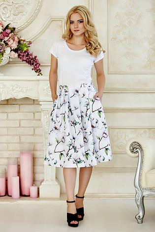 9d22282dd41 Пышная летняя женская миди юбка белая с принтом Орхидеи - купить по ...