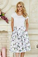 Пышная летняя женская миди юбка белая с принтом Орхидеи